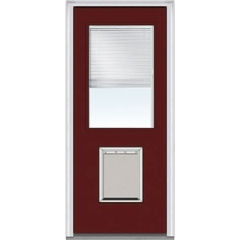 Exterior Door Blinds Doorbuild Mini Blinds Collection Fiberglass Smooth Entry Door Burgundy 37 5 Quot X81 75