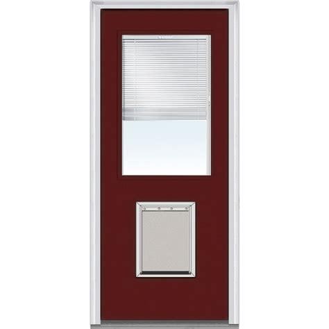 Exterior Doors With Blinds Doorbuild Mini Blinds Collection Fiberglass Smooth Entry Door Burgundy 37 5 Quot X81 75