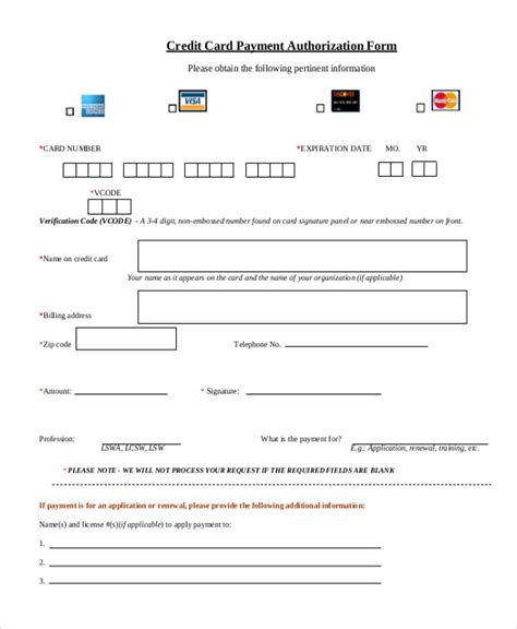free credit card payment form template sle credit card authorization form 12 free documents