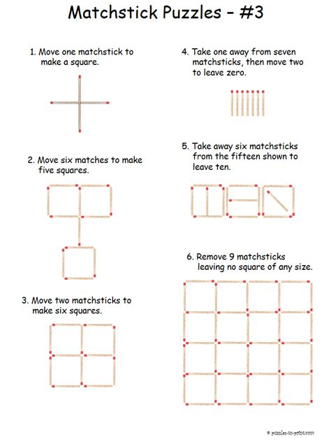 printable logic puzzles and brain teasers we have a whole collection of matchstick puzzles that are