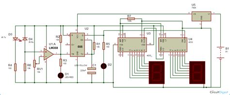 digital parking lot light timer 2 digit object counter circuit diagram ic 555 lm358