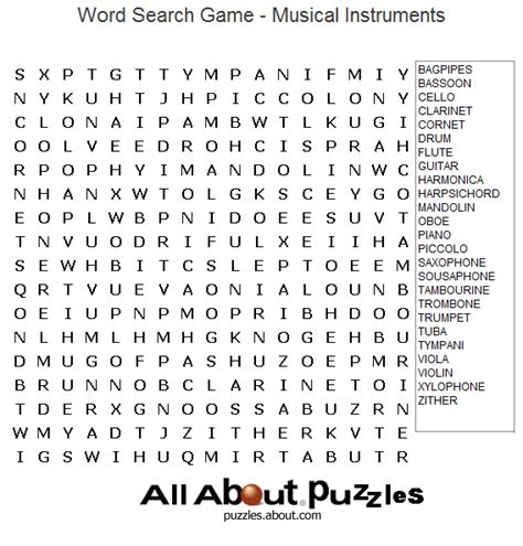 Printable Music Word Games | print out these fun word search puzzles printable word