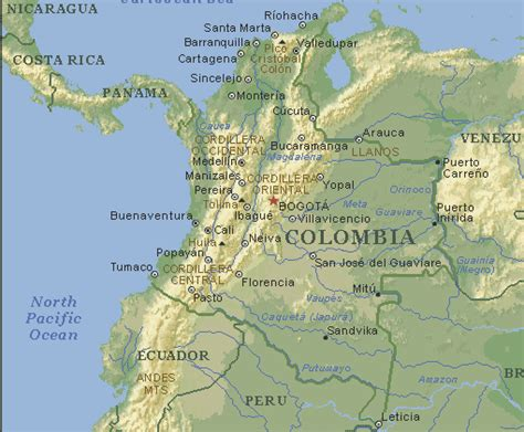 physical map of colombia maps of colombia