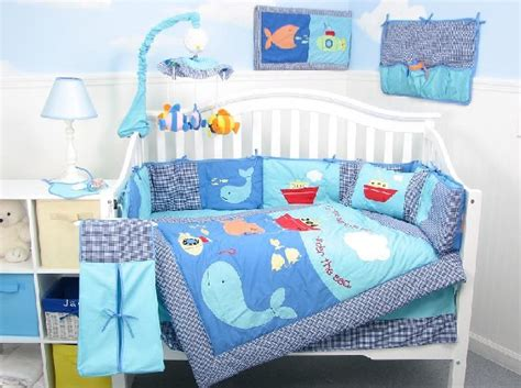 Baby Boy Comforters by Baby Boy Bedding Set With A Cool Blue Aquatic Theme