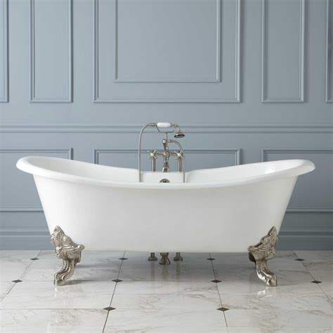 cast bathtub lena cast iron clawfoot double slipper tub with monarch imperial feet bathroom