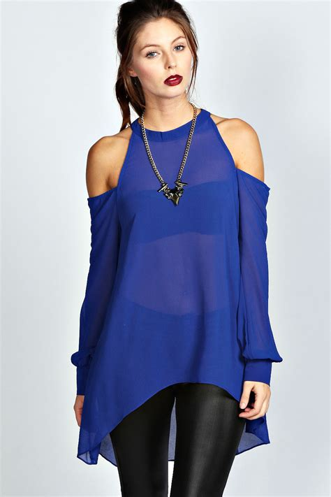Blouse Out Sholder isabelle high neck cut out shoulder blouse cobalt