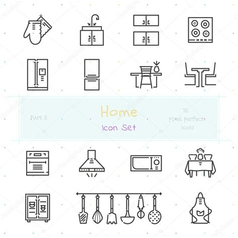 home line icon set part 5 kitchen stock vector