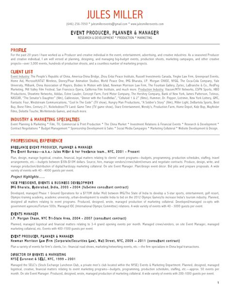 resume format event management jules miller events resume