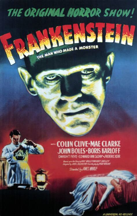 Poster Classic Vintage Frankenstein a mythical monkey writes about the frankenstein