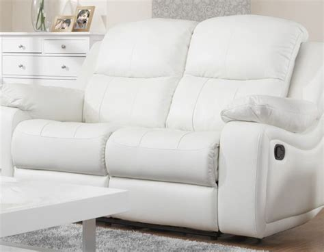 Leather Sofa Montreal Montreal Blossom White Reclining 2 2 Seater Leather Sofa Set Sofashop