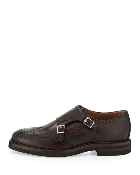 monk loafers brunello cucinelli leather monk wing tip loafer in