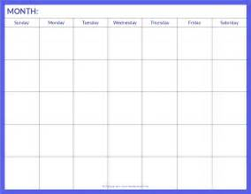 free monthly blank calendar template printable pdf word