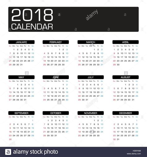 year calendar template 2018 calendar stock vector images alamy