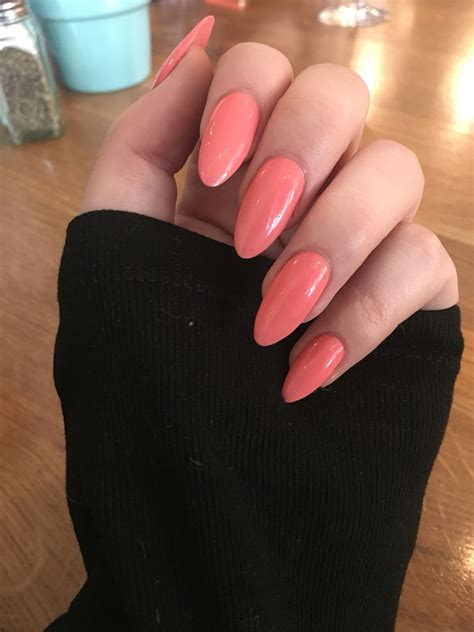 coral color nails coral colour almond shape nails in with these