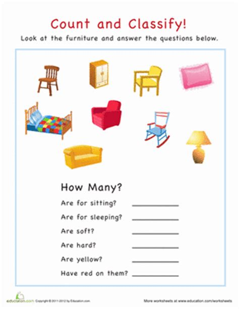 How Many Series Of House Is There Count And Classify Furniture Worksheet Education