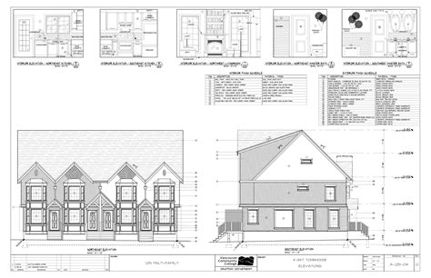 plan elevation and section of residential building multi family residential town house plans