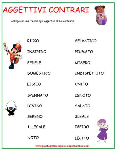 lingua test italiano aggettivi contrari 1 schede didattiche italiano