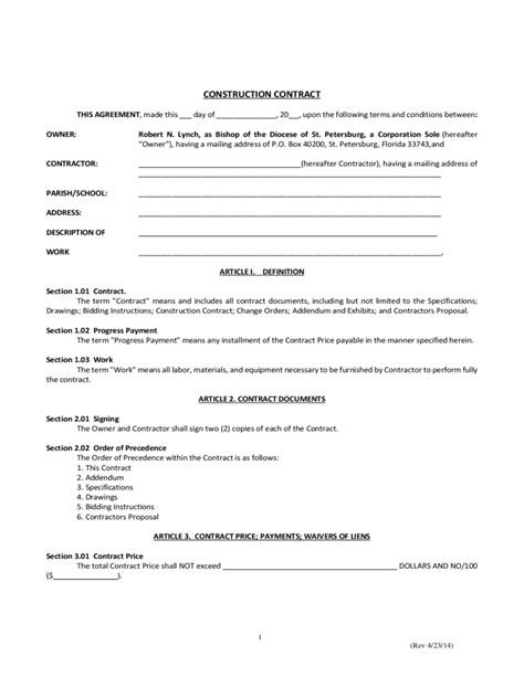 Simple Contract Template 6 Free Templates In Pdf Word Excel Download Construction Contract Template Pdf