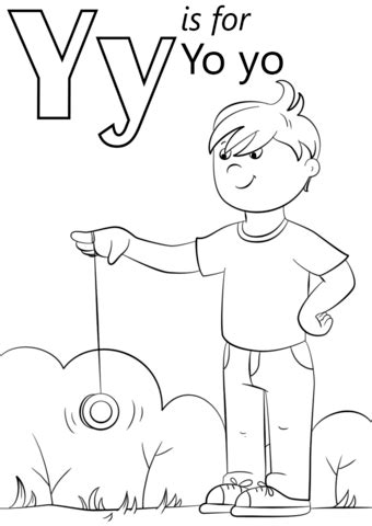 Free Y Coloring Pages letter y is for yo yo coloring page free printable
