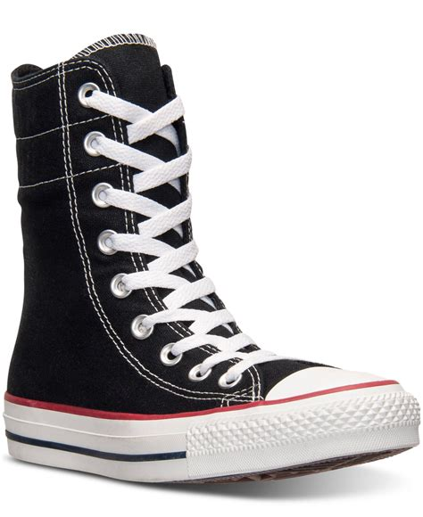 Sepatu Converse Black White Sneakers Casual lyst converse s chuck high rise casual sneakers from finish line in black
