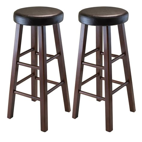 bar stools wood and leather amazon com winsome wood marta assembled round bar stool
