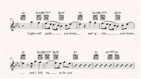 Coldplay Fix You Guitar Chords