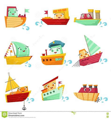 toy boats cartoon toy boats with faces colorful illustration set stock
