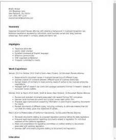 Resume Template Document by Professional Document Review Attorney Templates To