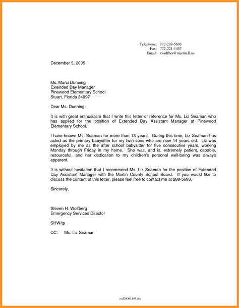 Proof Of Employment Letter Nanny letter of recommendation bio letter format
