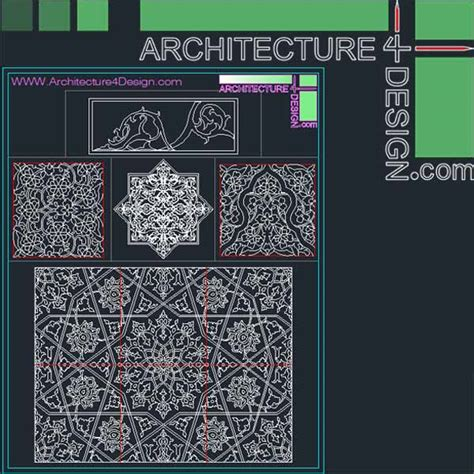 Islamic Pattern Autocad Free Download | 340 islamic architecture ornament motifs and arches for