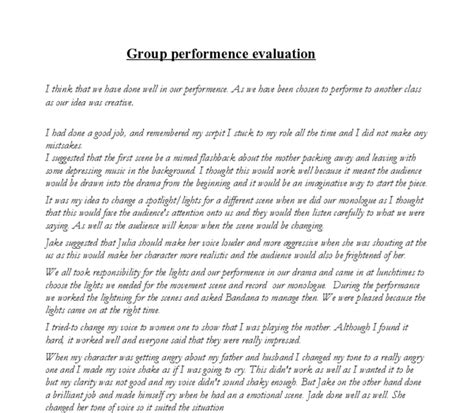 Exles Of Evaluative Essays by Performance Evaluation Gcse Drama Marked By Teachers