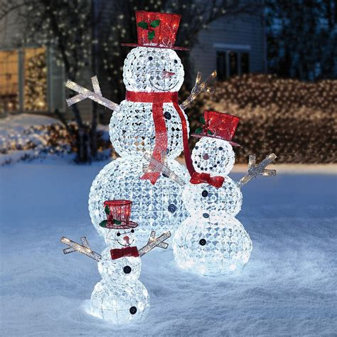 3pc led lighted random twinkling snowman