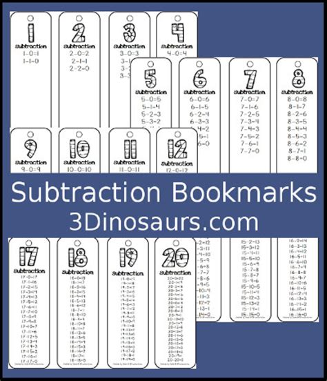 printable math bookmarks 3 dinosaurs subtraction bookmark printables