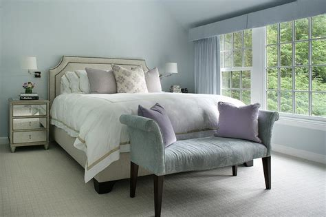 beige and blue bedroom ideas blue bedroom with beige bed and mirrored nightstands