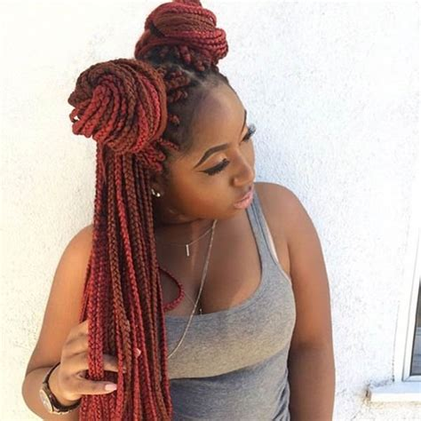 red braids in a bun 45 photos of rockin red box braids