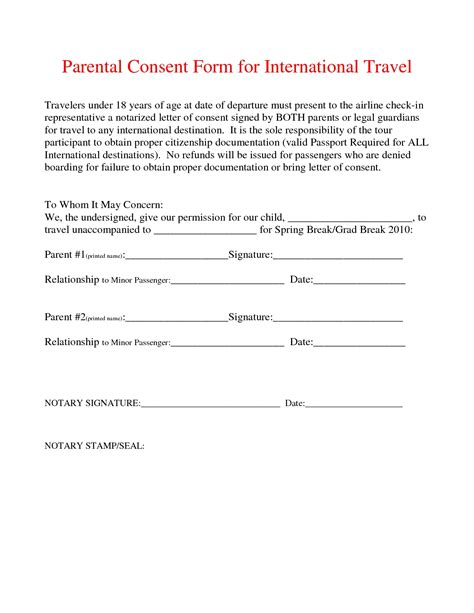 authorization letter for my child to travel with grandparents travel consent form template it resume cover letter sle