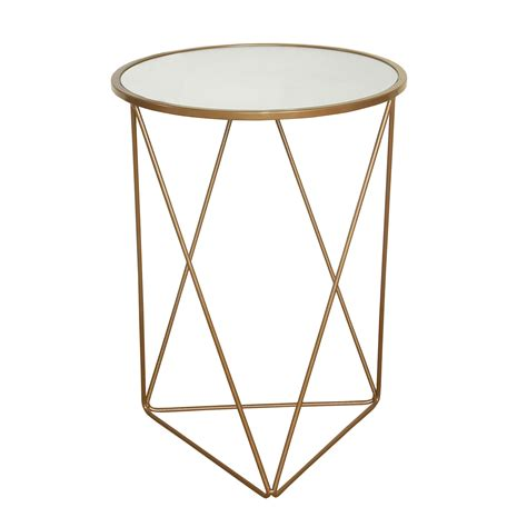 round glass top accent table homepop metal accent table triangle gold base round glass