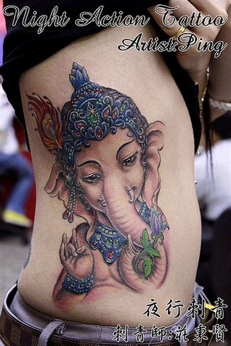 ganesha tattoo on girl ganesha hindu tattoo on ribs tattoos book 65 000