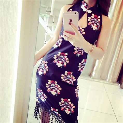 Print Cheongsam te1077yyg vintage print tassel cheongsam dress