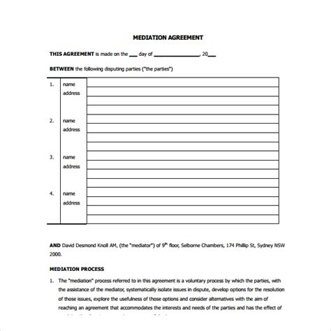 arbitration template mediation agreement template 6 free documents