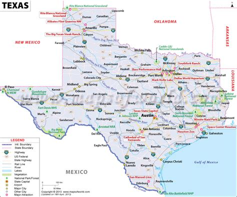 texas state on map map of texas free large images