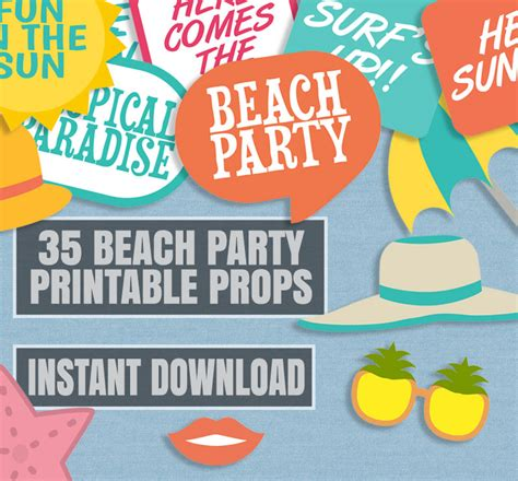 printable photo booth props beach 35 beach party prop printables summer party printable props