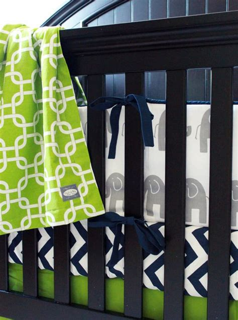 navy blue elephant and lime green crib bedding baby boy