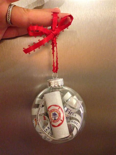 diy firefighter graduation program memory ornament you