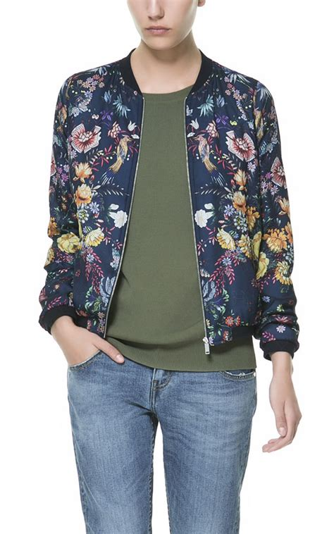 Zara Bomber Navy Army Jaket Sweater zara floral print bomber jacket in blue lyst