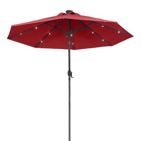 Metal Patio Umbrella Sunergy 50140838 9ft Solar Powered Metal Patio Umbrella W 16 Led Lights Scarlet Patio