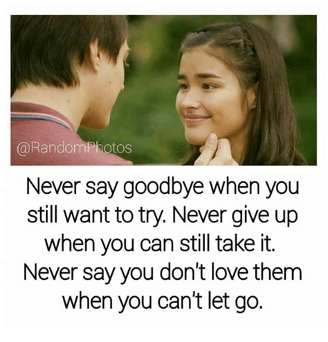 Is It When You Cant Say Goodbye by Never Say Goodbye When You Still Want To Try Never Give Up