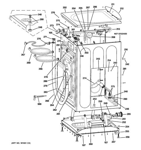 ge washer diagram cabinet top panel diagram parts list for model