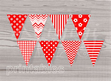printable gingham banner red pennant banner red party printables celebration