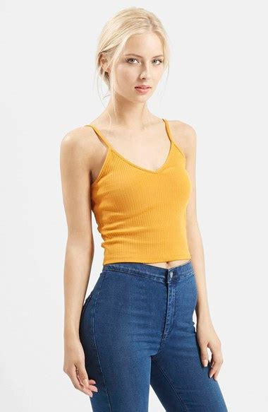 Ribbed Cropped Camisole Top lyst topshop ribbed crop camisole in yellow